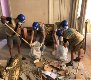 Youth group helps clean up after the Beirut explosion