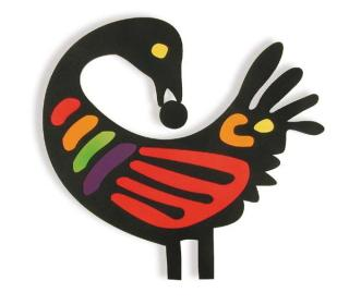 The Sankofa bird, a West African symbol of a bird with a long neck, turning its head to look back. This version is brilliantly multicoloured - red, yellow, black, and orange..