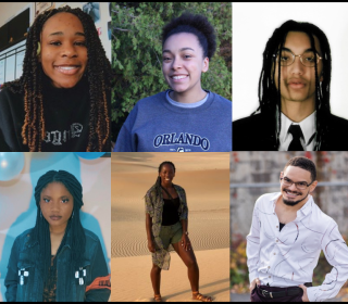 Image: collage of six photos of young Black people who will be researching Black experiences in Canadian churches