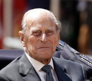 Prince Philip sitting in a carriage in 2017