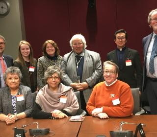 Photo of members of ecumenical delegation meeting with Senator Murray Sinclair