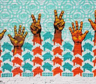 """Hands Up for Peace!"" mural in St. Louis, Missouri."