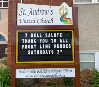 Sign at St. Andrew's United Church supporting frontline workers