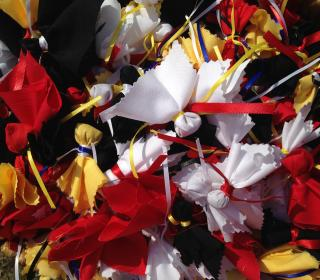 Red, white, black, and yellow tobacco ties