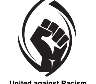 "A raised fist inside the outline of the United Church crest. Text on image says ""United against Racism."""
