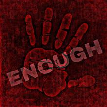 A hand print indicating ENOUGH on red background.