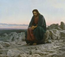 A 19th century painting showing a dejected and downcast Jesus, sitting alone on a rock in the desert wilderness.