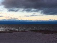 Lake Erie shore on a cloudy day