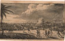 An etching from the 1800s which shows a battle in the Demerara revolt which slaves charging through a field of cane, causing the British to retreat.