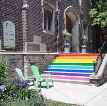 Steps at Roncesvalles United Church are painted with the colours of the rainbow to remind people of the church's radical welcome.