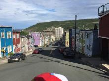 A view of the colourful streets of Gander, Newfoundfound from the perspective of a GC43 Pilgrim.