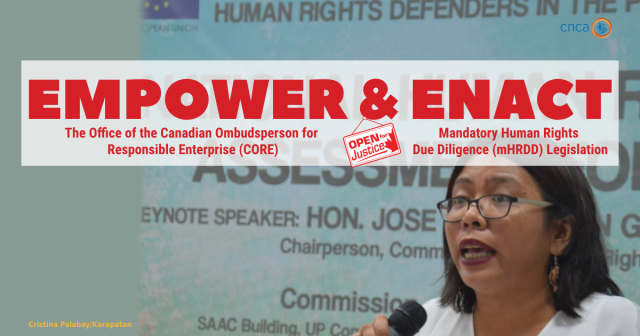 "A woman holding a microphone below the words ""empower and enact: the office of the Canadian Ombudsperson for Responsible Enterprise Mandatory Human Rights Due Diligence legislation."""