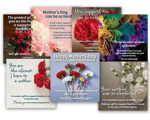 Collage of seven Mother's Day e-card, each with a different photo of carnations and a different message