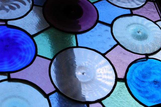 Photo of blue and purple stained glass circles