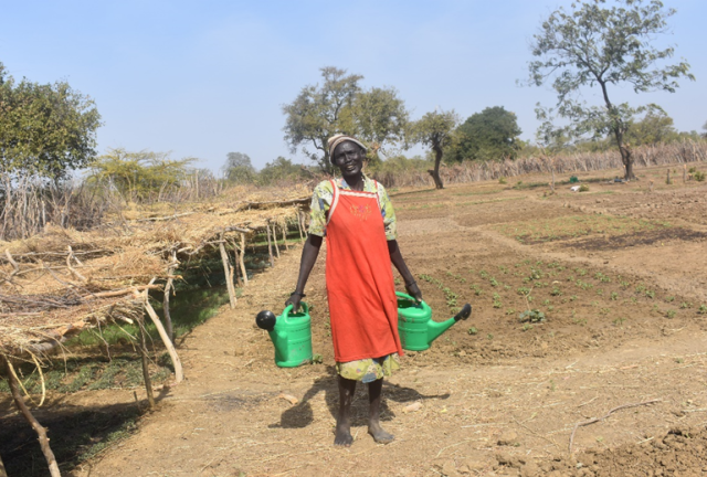 Amei on her land in South Sudan