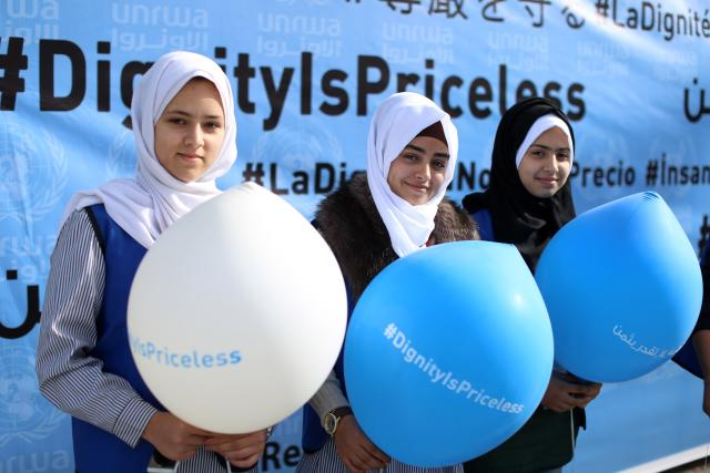 Palestinian girls at the launch of the #DignityIsPriceless campaign