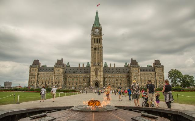 A view of the House of Commons, including the Centre Block and Centennial Flame.