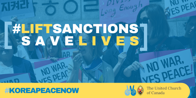 "The text ""lift sanctions save lives Korea peace now"" is overlaid on an image of women protesting for peace."