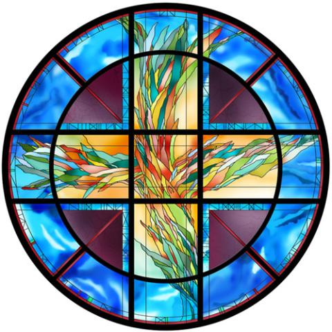 Living Cross stained glass